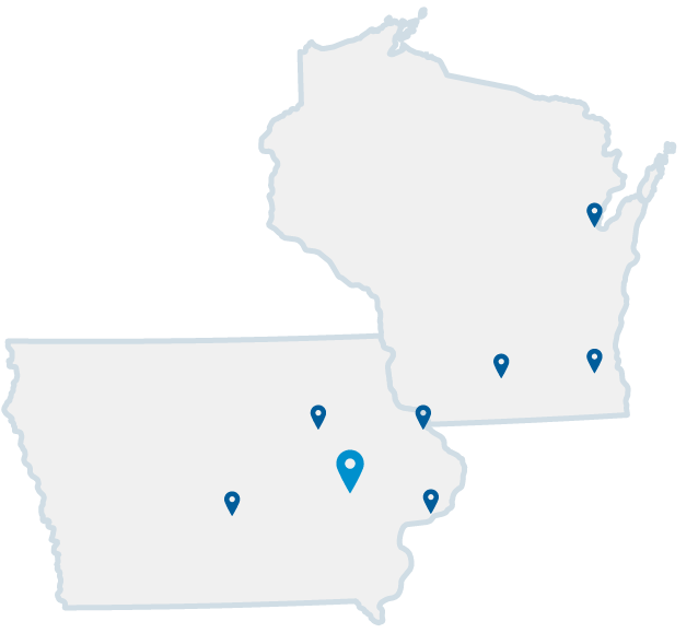 map of iowa and wisconsin with locations marked